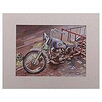 'Out of Service' - Signed Watercolor Painting of a Motorcycle from Java