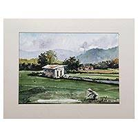 'Wukirsari Landscape' - Impressionist Watercolor Landscape of Javanese Countryside