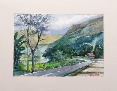'Kedungmiri Landscape' - Indonesian Countryside Impressionist Watercolor Painting