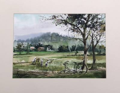 'Jogja Paddies' - Indonesian Original Impressionist Painting in Watercolors