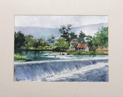 Original Watercolor Painting of Indonesian River Dam, 'Dam View'