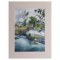'Tegal Dam' - Rural Water Landscape in Impressionist Style Watercolor
