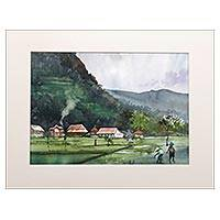 'Kedungmiri Landscape III' - Impressionist Watercolor Painting of a Rural Village in Java
