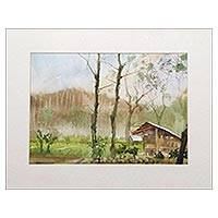 'View of Wukirsari II' - Original Signed Javanese Impressionist Watercolor Painting