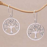 Sterling silver dangle earrings, 'Knotting Tree' - Celtic Knot Tree Sterling Silver Dangle Earrings from Bali