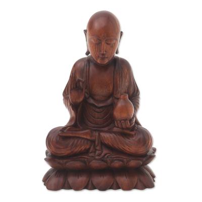 Wood statuette, 'Vitarka Buddha' - Hand Crafted Balinese Suar Wood Buddha Meditation Statuette