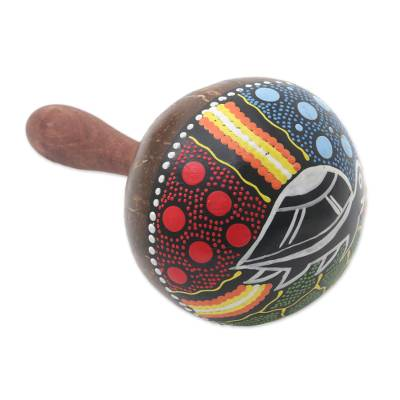 Mahogany and coconut shell maraca, 'Turtle Rhythm' - Turtle-Theme Mahogany and Coconut Shell Maraca from Bali