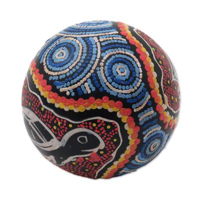 Coconut shell percussion instrument, 'Swimming Turtle' - Turtle-Themed Coconut Shell Percussion Instrument from Bali