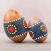 Mahogany percussion instruments, 'Sunny Eggs' (pair) - Egg-Shaped Mahogany Percussion Instruments (Pair) from Bali