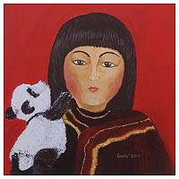 'Girl and Panda' - Signed Naif Painting of a Girl and a Panda