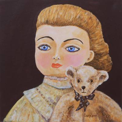 Signed Naif Painting of a Girl and a Bear from Java