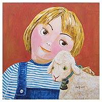 'Girl and Sheep' - Signed Painting of a Girl with a Sheep from Java