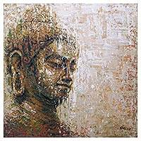 'Buddha's Light' - Expressionist Painting of Buddha in Brown from Indonesia