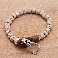 Lava stone beaded bracelet, 'Rugged Adventure' - Lava Rock Beaded Bracelet with Sterling Silver and Leather