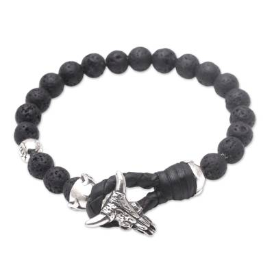 Lava stone beaded bracelet, 'Rugged Power' - Lava Rock Beaded Bracelet with Sterling Silver Buffalo