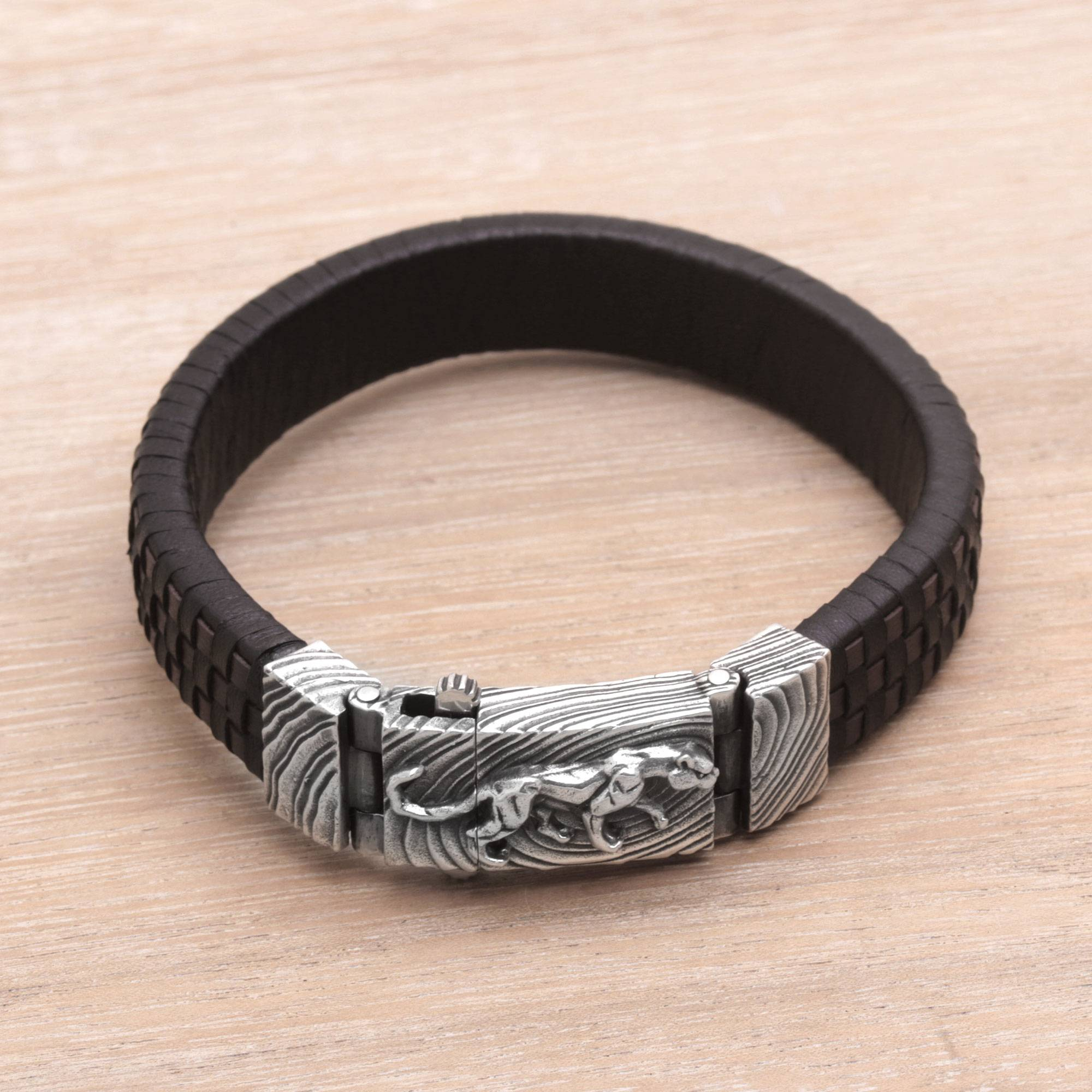 Men's Leather and Sterling Silver Wristband with Puma, 'Powerful Puma'