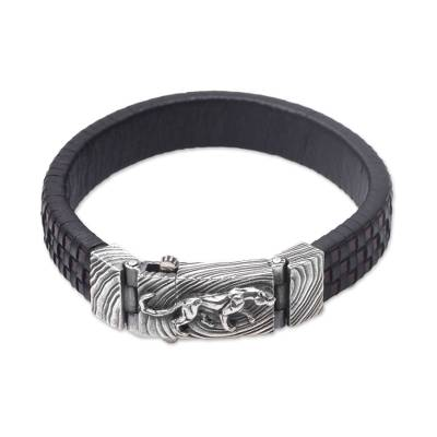 Men's leather and sterling silver wristband bracelet, 'Powerful Puma' - Men's Leather and Sterling Silver Wristband with Puma