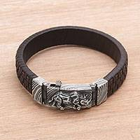 Men's leather and sterling silver wristband bracelet, 'Powerful Rhino' - Men's Leather and Sterling Silver Wristband with Rhino