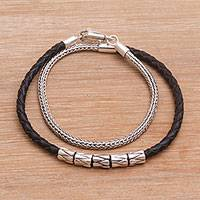 Leather and sterling silver wrap bracelet, 'Dual Power in Black'