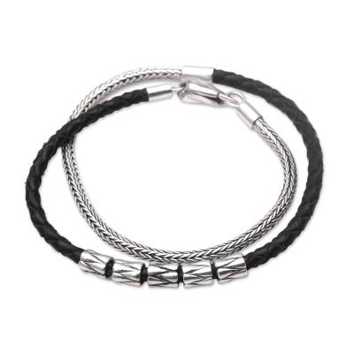 Leather and sterling silver wrap bracelet, 'Dual Power in Black' - Handmade Black Leather and Sterling Silver Wrap Bracelet