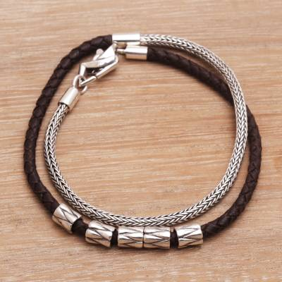 Leather and sterling silver wrap bracelet, 'Dual Power in Brown' - Handmade Brown Leather and Sterling Silver Wrap Bracelet
