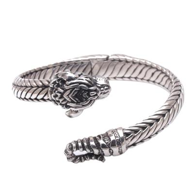 Sterling silver cuff bracelet, 'Fierce Tiger' - Unisex Sterling Silver Tiger Cuff Bracelet from Indonesia