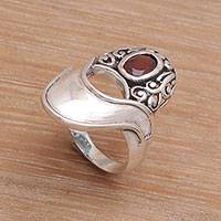Garnet cocktail ring, 'Twilight View' - Garnet and Sterling Silver Modern Balinese Cocktail Ring