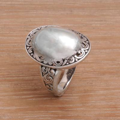 artisan silver jewelry rings size - Sterling Silver Domed Ring with Balinese Scroll Work