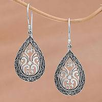 Sterling silver dangle earrings, 'Silver Drop' - Sterling Silver Balinese Tendrils Tear Drop Dangle Earrings