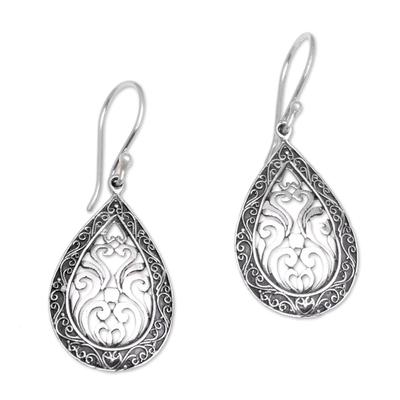 Sterling silver dangle earrings, 'Silver Drop' - Sterling Silver Balinese Tendrils Tear Drop Dangle Earrings
