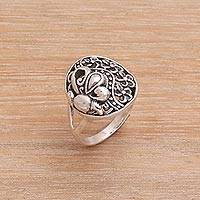 Sterling silver cocktail ring, 'Flying In the Garden'