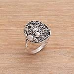 925 Sterling Silver Butterfly Flower Garden Cocktail Ring, 'Flying In the Garden'