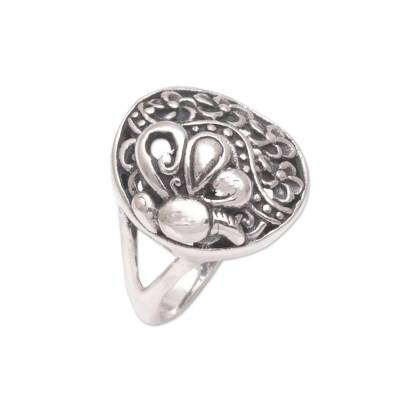 Sterling silver cocktail ring, 'Flying In the Garden' - 925 Sterling Silver Butterfly Flower Garden Cocktail Ring