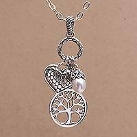 Cultured pearl pendant necklace, 'Love in the Forest' - Heart and Tree Cultured Pearl Pendant Necklace from Bali