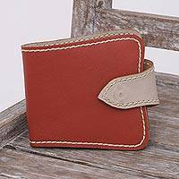 Leather wallet, 'Lavish Companion' - Handcrafted Leather Wallet in Burnt Orange from Java