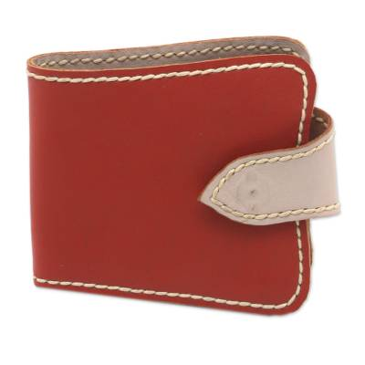 Handcrafted Leather Wallet in Burnt Orange from Java