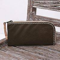 Leather clutch, 'Olive Sophistication' - Handcrafted Leather Wallet in Olive from Java