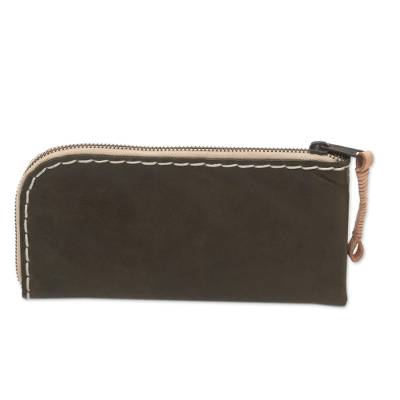 Handcrafted Leather Wallet in Umber from Java
