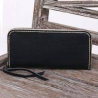 Leather wallet, 'Sophisticated Ebony' - Handcrafted Leather Wallet in Ebony from Java