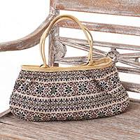Leather accent cotton handbag, 'Tenun Petals' - Leather Accent Cotton Handbag with Ikat Motifs from Bali