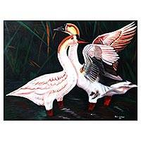 'Swan Romance' - Signed Realist Painting of Two Swans from Java