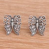 Sterling silver stud earrings, 'Fluttering Beauty' - Balinese Handmade Sterling Silver Butterfly Stud Earrings