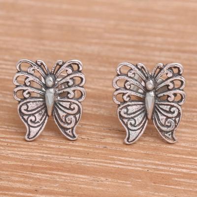 Novica Sterling silver stud earrings, Fluttering Beauty