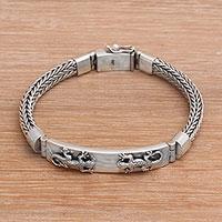 Sterling silver pendant bracelet, 'Great Gecko' - Balinese Sterling Silver Pendant Bracelet with Gecko Motif