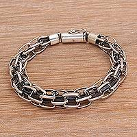 Men's sterling silver chain bracelet, 'Daring Pioneer' - Men's Sterling Silver Chain Bracelet from Bali