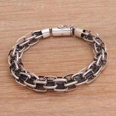 Men S Sterling Silver Chain Bracelet From Bali Daring Pioneer Novica