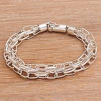 Men's sterling silver chain bracelet, 'Pioneer' - Men's Sterling Silver Chain Bracelet from Bali