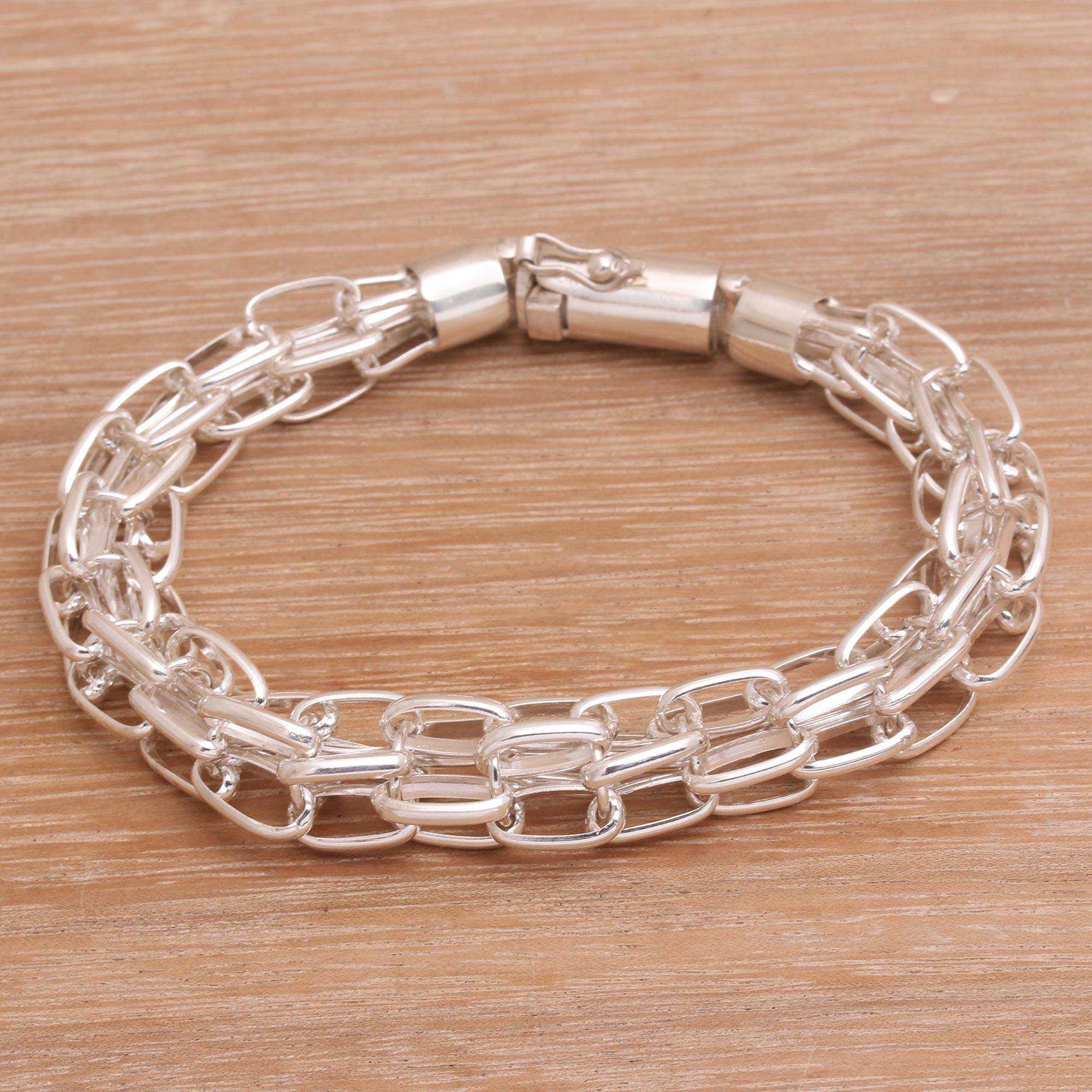944af21f68cb Men s Sterling Silver Chain Bracelet from Bali - Pioneer