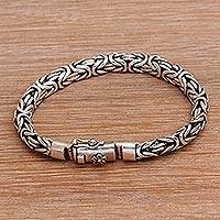 Sterling silver chain bracelet, 'Together as One' - Balinese Sterling Silver Floral Chain Bracelet
