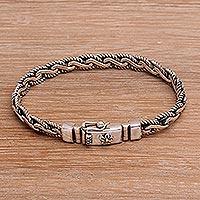 Sterling silver chain bracelet, 'True Unity' - Balinese Sterling Silver Floral Chain Bracelet